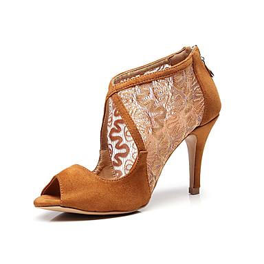 baratos Shall We® Sapatos de Dança-Mulheres Sapatos de Dança Renda Sapatos de Dança Latina Renda Sandália Salto Alto Magro Personalizável Preto / Marron / Espetáculo / Ensaio / Prática