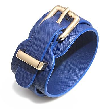 baratos Pulseiras de couro-Mulheres Pulseiras de couro Pulseira larga Clássico senhoras Fashion Elegante PU Leather Pulseira de jóias Marron / Vermelho / Azul Para Bandagem Bagels