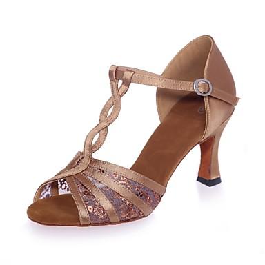 Žene Plesne cipele Saten Cipele za latino plesove Šljokice / Kopča Sandale Deblja visoka potpetica Crn / Braon / Crvena / Seksi blagdanski kostimi / Koža / Vježbanje