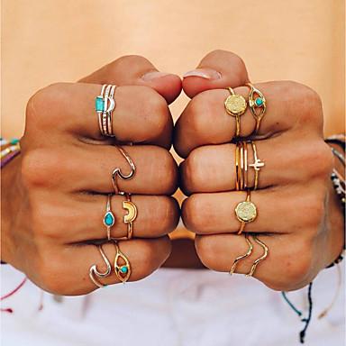 billige Motering-Dame Ring / Ring Set / Midi Ring Turkis 9pcs Gull Legering Geometrisk Form damer / Uvanlig / Unikt design Daglig / Ut på byen Kostyme smykker