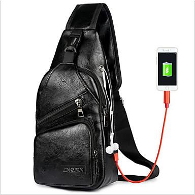 hesapli Fonksiyonel Çantalar-Erkek Fermuar Sling Omuz Çantaları Su Geçirmez PU Siyah / Kahverengi / Koyu Kahverengi