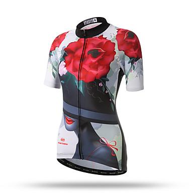 XINTOWN Mulheres Manga Curta Camisa para Ciclismo - Branco / Preto / Vermelho Floral / Botânico Tamanhos Grandes Moto Blusas, Respirável Secagem Rápida Redutor de Suor Terylene / Com Stretch