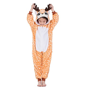 Kid s Kigurumi Pajamas Reindeer Onesie Pajamas Flannel Fabric Orange  Cosplay For Boys and Girls Animal Sleepwear bd0eacc37