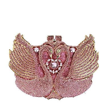 billige Vesker-Dame Krystalldetaljer / Uthult Legering Aftenveske Rhinestone Crystal Evening Bags Helfarge Rosa / Høst vinter