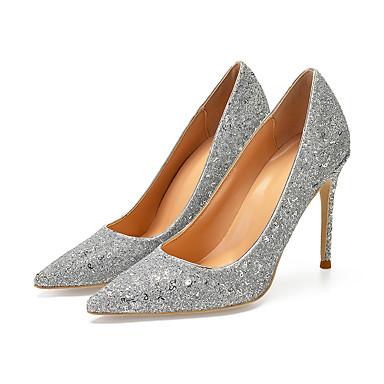 56b9b9c04bc8 Femme Escarpins Cuir Verni Printemps   Automne British   Minimalisme  Chaussures à Talons Talon Aiguille Bout pointu Noir   Argent   Bleu de  minuit   Mariage ...