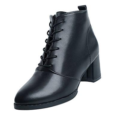 8c5783157f1 Mujer Fashion Boots PU Otoño Minimalismo Botas Tacón Cuadrado Dedo  Puntiagudo Botines / Hasta el Tobillo Negro