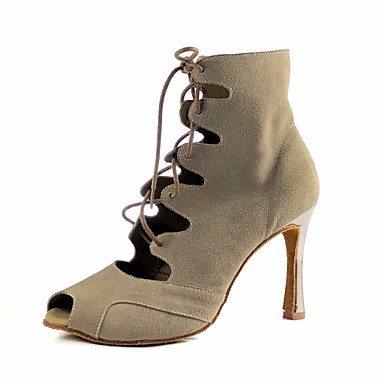 baratos Sapatos de Salsa-Mulheres Sapatos de Dança Camurça Sapatos de Dança Latina / Sapatos de Salsa / Botas de Dança Salto Salto Carretel Khaki / Espetáculo / Ensaio / Prática