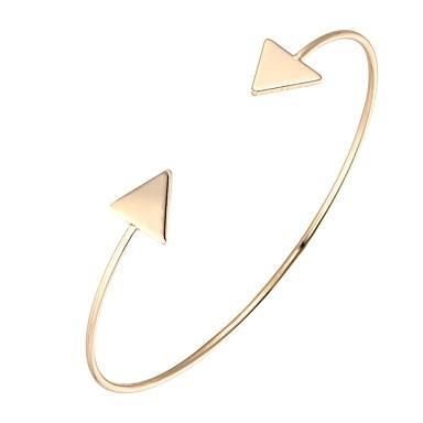 abordables Bracelet-Manchettes Bracelets Femme Classique dames Branché Bracelet Bijoux Dorée Noir Argent Triangle pour Soirée Rendez-vous