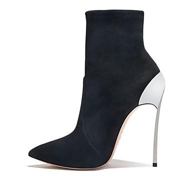 voordelige Dameslaarzen-Dames Laarzen Fashion Boots Naaldhak Gepuntte Teen Suède Kuitlaarzen Klassiek Herfst winter Zwart / Bruiloft / Feesten & Uitgaan