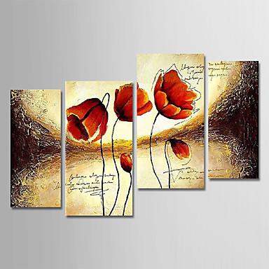 Hang oslikana uljanim bojama Ručno oslikana - Cvjetni / Botanički Moderna Uključi Unutarnji okvir / Četiri plohe / Prošireni platno