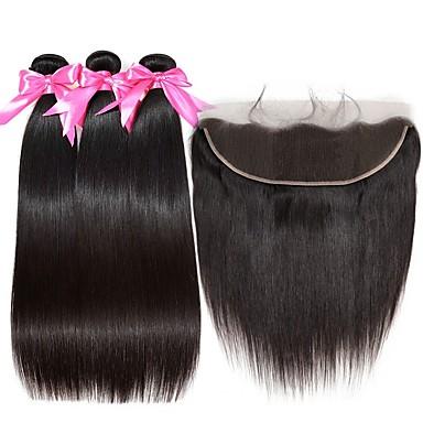 baratos Extensões de Cabelo Natural-3 pacotes com fechamento Cabelo Peruviano Liso 8A Cabelo Humano Um Pacote de Solução Extensões de Cabelo Natural Tecer 8-22 polegada Côr Natural Tramas de cabelo humano Suave extensão Fashion