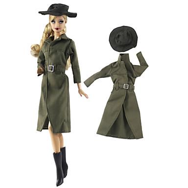 voordelige Poppenaccessoires-Pop Outfit Pop jas Jasje / jack Voor Barbie Leger Groen Geweven stof Doek Katoenen Doek Jas Voor voor meisjes Speelgoedpop