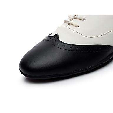 Homme Chaussures de Swing Cuir Chaussures Plate Talon Plat Chaussures Cuir de danse Noir-Blanc f9133e