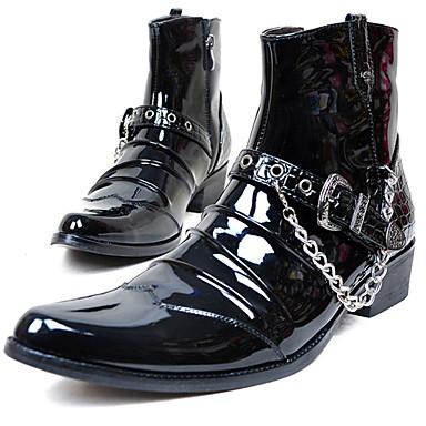 Muškarci Fashion Boots Lakirana koža Zima Vintage / Ležerne prilike Čizme Ugrijati Čizme do pola lista Crn / Zabava i večer