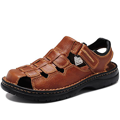 62aa4d5abf6 Hombre Zapatos Confort Cuero de Napa Verano Vintage   Casual Sandalias  Transpirable Negro   Marrón