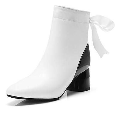 Accurato Per Donna Fashion Boots Nappa Inverno Stivaletti Quadrato Punta Chiusa Stivaletti - Tronchetti Bianco - Tessuto Almond #06957354