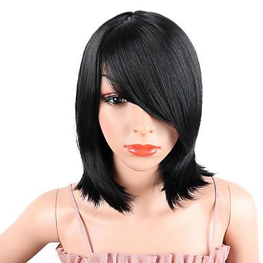 人工毛ウィッグ ストレート Kardashian スタイル ミドル部 キャップレス かつら ブラック ブラック 合成 14INCH 女性用 調整可 / 耐熱 / 女性 ブラック かつら ロング / 対応