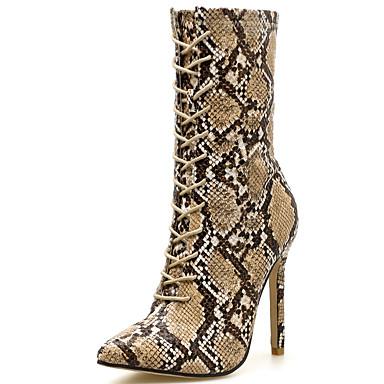 povoljno Ženske cipele-Žene Čizme Fashion Boots Stiletto potpetica Sintetika Čizme do pola lista Uglađeni Jesen zima Braon / Zabava i večer / Leopard
