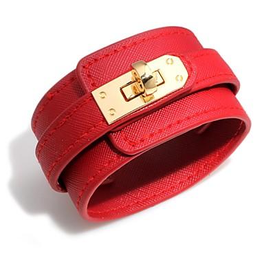 baratos Bangle-Mulheres Pulseiras de couro Pulseira larga Clássico senhoras Fashion Elegante PU Leather Pulseira de jóias Marron / Vermelho / Azul Para Bandagem Bagels