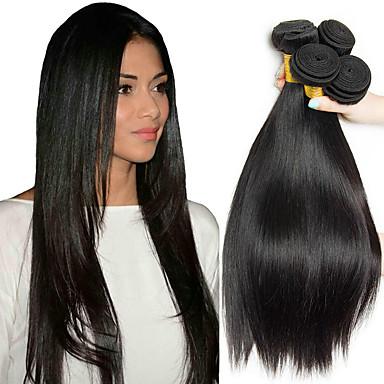 billige En pakke med hår-4 pakker Malaysisk hår Rett 8A Ekte hår Menneskehår Vevet Forlengere Bundle Hair 8-28 tommers Naturlig Farge Hårvever med menneskehår Silkete Glat Hairextensions med menneskehår Dame