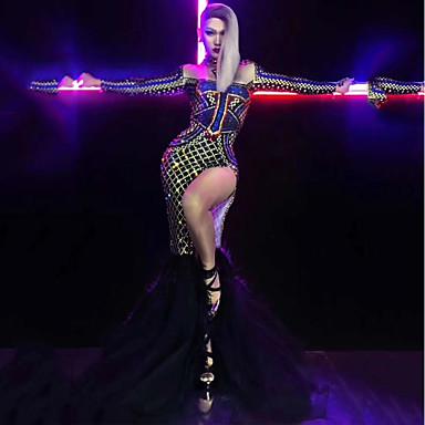 Egzotična plesna odjeća Kombinezon s drgim kamenjem / Klubska nošnja Žene Seksi blagdanski kostimi Spandex Blistati / Kristali / Rhinestones Dugih rukava Haljina