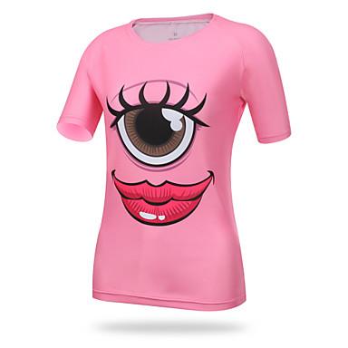 XINTOWN Damen Kurzarm Fahrradtrikot - Rosa Auge Fahhrad T-shirt Oberteile, Atmungsaktiv Rasche Trocknung UV-resistant Elastan Lycra / Hochelastisch