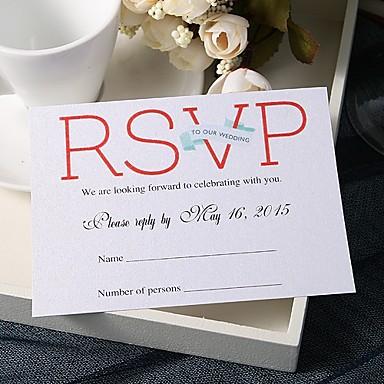 abordables Faire-part mariage-Carte plate Faire-part mariage 20 - Cartes de réponse Thème féerique Papier nacre