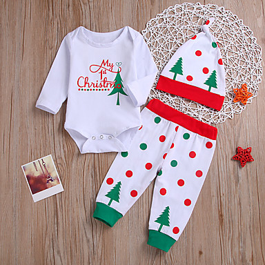 23f50fbfe Baby Girls' Active / Punk & Gothic Christmas / Party / Going out Print Print  Long Sleeve Regular Regular Cotton Clothing Set White / Toddler