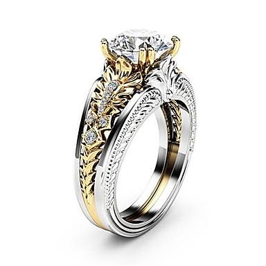 ieftine Inele la Modă-Pentru femei Transparent Diamant Zirconiu Cubic Două-Tonuri Dublu Stratificat Inel Articole de ceramică Placat cu platină Diamante Artificiale Floare femei Design Unic Gotic Elegant Inele la Modă
