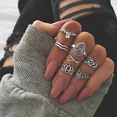 billige Motering-Dame Knokering Ring Set Multi-fingerring 7pcs Gull Sølv Strass Legering Oval damer Uvanlig Asiatisk Gave Daglig Smykker Retro Artisan Dråpe Lotus Clover Kul / Oversized