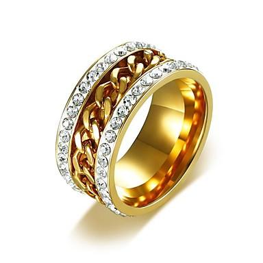 voordelige Dames Sieraden-Heren Bandring Eternity Ring Zirkonia 1pc Goud Titanium Staal Hip-hop Dubai Bruiloft Maskerade Sieraden Cubaanse link Gedraaid
