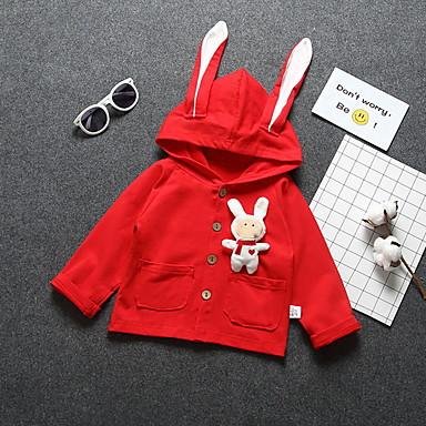 levne Dětské bundičky a kabátky-Dítě Dívčí Základní Denní Tisk Dlouhý rukáv Standardní Polyester Bundičky a kabáty Rubínově červená / Toddler