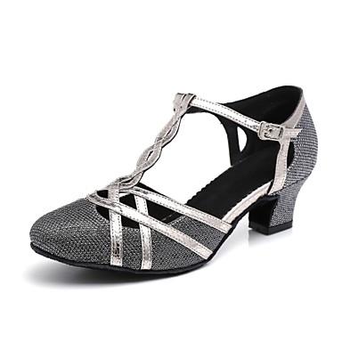 baratos Shall We® Sapatos de Dança-Mulheres Sapatos de Dança Sintéticos Sapatos de Dança Moderna Presilha / Saiu ao lado Salto Salto Grosso Preto / Cinzento Prateado / Dourado / Espetáculo / Ensaio / Prática