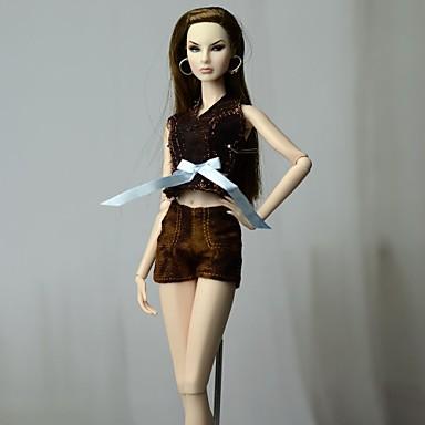 Odjeća za lutke Hlače s lutkama Hlače Majice Za Barbie Moda Tamno smeđa Nonwoven Fabric Tkanina Pamučne tkanine Top / Hlače Za Djevojka je Doll igračkama