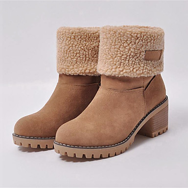 be53d58901e Women s Suede   Faux Fur Spring   Fall   Winter Casual Boots Chunky Heel  Round Toe Booties   Ankle Boots Gray   Green   Camel