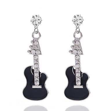 Dame Dråpeøreringer 3D Musik Gitar damer Stilfull Strass øredobber Smykker Sølv Til Daglig 1 par
