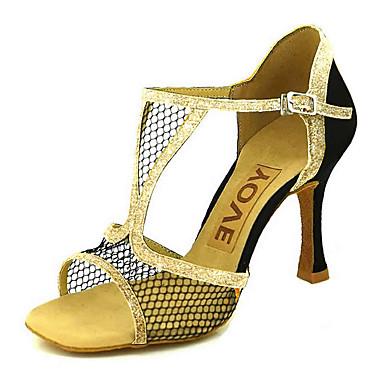 baratos Super Ofertas-Mulheres Com Transparência Sapatos de Dança Latina / Sapatos de Salsa Presilha / Cadarço de Borracha Sandália / Salto Salto Personalizado Personalizável Vermelho / Azul / Dourado / Espetáculo / Couro