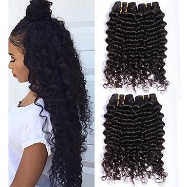 3 paketa Malezijska kosa Duboko Val Ljudska kosa Netretirana  ljudske kose Wig Accessories Headpiece Ljudske kose plete 8-28 inch Prirodna boja Isprepliće ljudske kose Cool Gust 100% Djevica / 8A