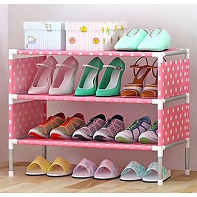 abordables Accessoires pour Chaussures-Cintre & Range Chaussures Non-tissé 4 Niveaux Unisexe Rose Claire / Jaune / # Vin rouge (anti-rides)
