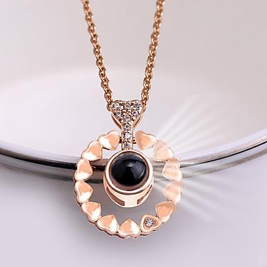 Žene Charm Necklace Klasičan Srce dame pomodan Korejski Slatka Style Umjetno drago kamenje Legura Zlato Pink 42+5 cm Ogrlice Jewelry 1pc Za Škola Spoj
