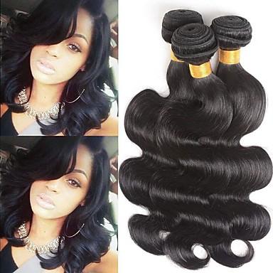 3 paketa Peruanska kosa Tijelo Wave Ljudska kosa Netretirana  ljudske kose Ljudske kose plete Produžetak Bundle kose 8-28 inch Prirodna boja Isprepliće ljudske kose Nježno Ribbon Najbolja kvaliteta