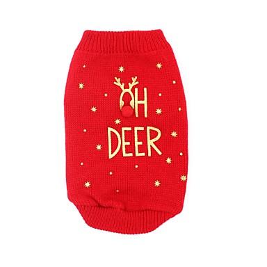 Psi Mačke Puloveri Odjeća za psa Jelen Slogan Crvena Tekstil Kostim Za japanski špic korgi Bigl Proljeće & Jesen Zima Muška Ženska Halloween Božić
