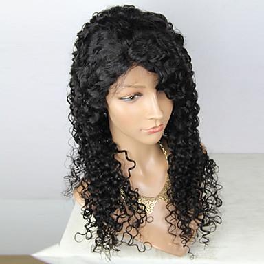 Virgin kosa Remy kosa Lace Front Perika Stepenasta frizura Srednji dio Stražnji dio stil Brazilska kosa Duboko kovrčava Natural Perika 180% Gustoća kose s dječjom kosom Nježno Prirodno Prirodna