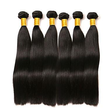 6バンドル マレーシアンヘア ストレート 人毛 人間の髪編む バンドル髪 ワンパックソリューション 8-28 インチ ナチュラル ナチュラルカラー 人間の髪織り シルキー 滑らか 最高品質 人間の髪の拡張機能