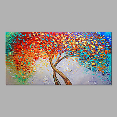 cheap Oversized Painting-Oil Painting Hand Painted - Abstract Floral / Botanical Modern Rolled Canvas