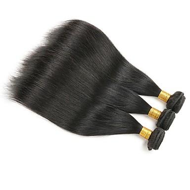 3 paketa Ravan kroj Ljudska kosa Netretirana  ljudske kose Headpiece Ljudske kose plete Styling kose 8-28 inch Prirodna boja Isprepliće ljudske kose Waterfall Jednostavan Gust Proširenja ljudske kose