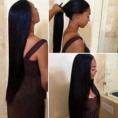 Virgin kosa Remy kosa Lace Front Perika S konjskim repom stil Peruanska kosa Ravan kroj Natural Perika 150% Gustoća kose s dječjom kosom Svilenkast Za crnkinje 100% Djevica Izbijeljeni čvorovi Žene