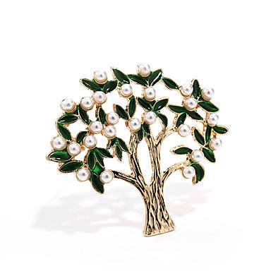 baratos Bijuteria de Mulher-Mulheres Broches Árvore da Vida Árvore da vida senhoras Na moda Pérola Ouro Broche Jóias Verde Escuro Para Rua