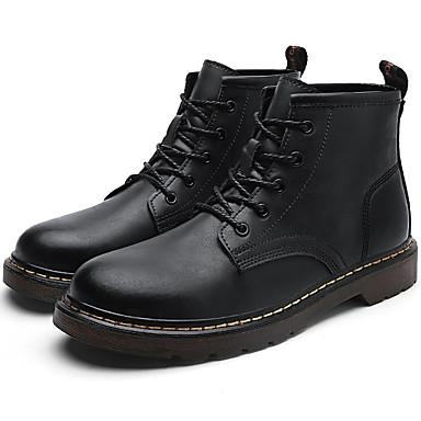 Herre Fashion Boots Læder Efterår vinter Vintage / Britisk Støvler Hold Varm Støvletter Sort / Brun / Vin
