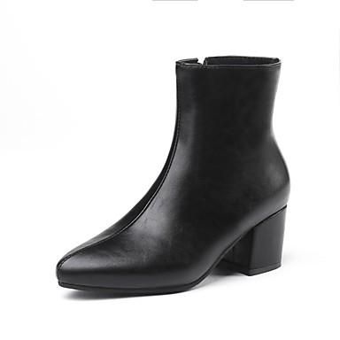 Dame Fashion Boots PU Efterår vinter Støvler Kraftige Hæle Støvletter Guld / Sort / Sølv